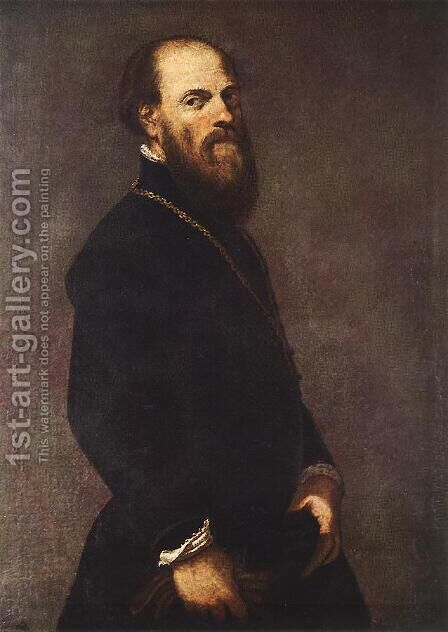 Man with a Golden Lace 1550-60 by Jacopo Tintoretto (Robusti) - Reproduction Oil Painting
