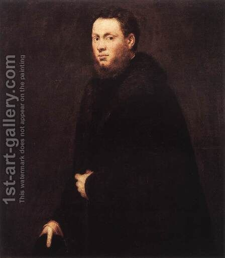 Portrait of a Young Gentleman c. 1555 by Jacopo Tintoretto (Robusti) - Reproduction Oil Painting