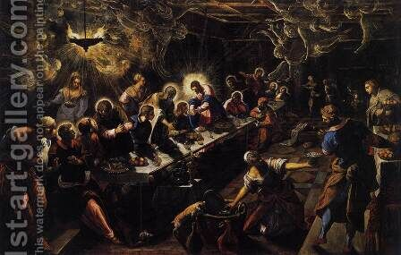 The Last Supper 1592-94 by Jacopo Tintoretto (Robusti) - Reproduction Oil Painting