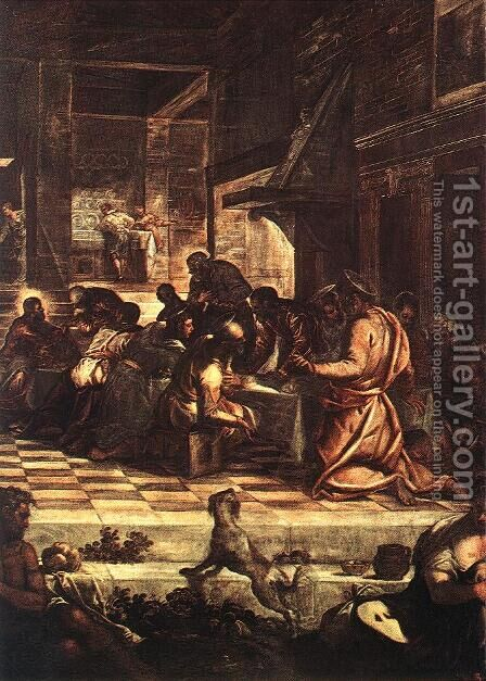 The Last Supper (detail) 1578-81 by Jacopo Tintoretto (Robusti) - Reproduction Oil Painting