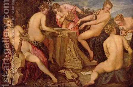 Women Playing Music by Jacopo Tintoretto (Robusti) - Reproduction Oil Painting