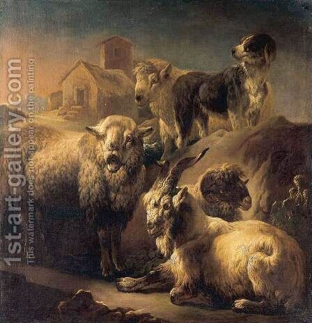 A Goat, Sheep and a Dog Resting in a Landscape by Philipp Peter Roos - Reproduction Oil Painting