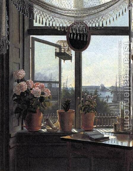 View from the Artist's Window c. 1825 by Martinus Rorbye - Reproduction Oil Painting