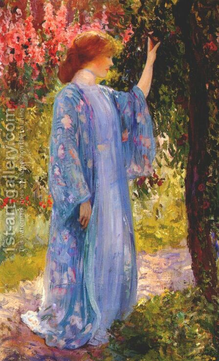 The Blue Kimono 1909 by Guy Rose - Reproduction Oil Painting