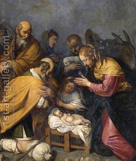Adoration of the Shepherds by Matteo Rosselli - Reproduction Oil Painting