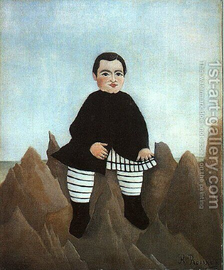 Boy on the Rocks 1895-97 by Henri Julien Rousseau - Reproduction Oil Painting