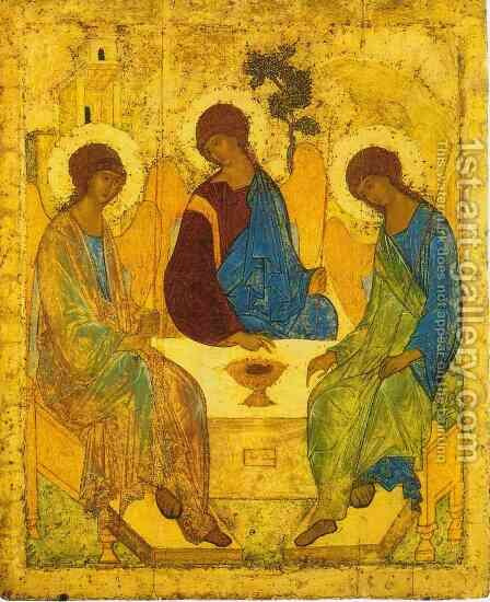 Trinity c. 1411 by Andrey Rublyov - Reproduction Oil Painting