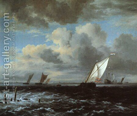 Rough Sea  1670 by Jacob Van Ruisdael - Reproduction Oil Painting
