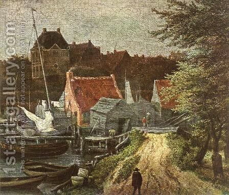 View of Amsterdam (detail) by Jacob Van Ruisdael - Reproduction Oil Painting