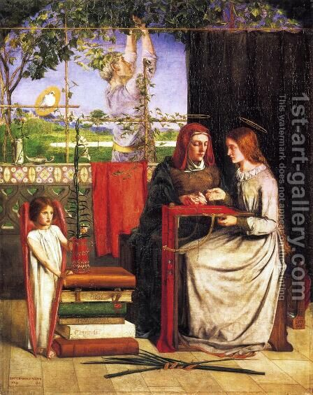 The Girlhood of Mary Virgin 1848-49 by Dante Gabriel Rossetti - Reproduction Oil Painting