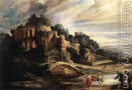Landscape with the Ruins of Mount Palatine in Rome c. 1608 by Rubens - Reproduction Oil Painting