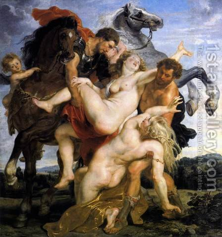 Rape of the Daughters of Leucippus c. 1617 by Rubens - Reproduction Oil Painting
