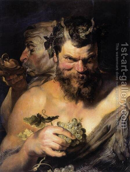 Two Satyrs 1618-19 by Rubens - Reproduction Oil Painting