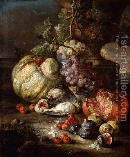 Still-Life with Fruit and Dead Birds in a Landscape by Giovanni Battista Ruoppolo - Reproduction Oil Painting