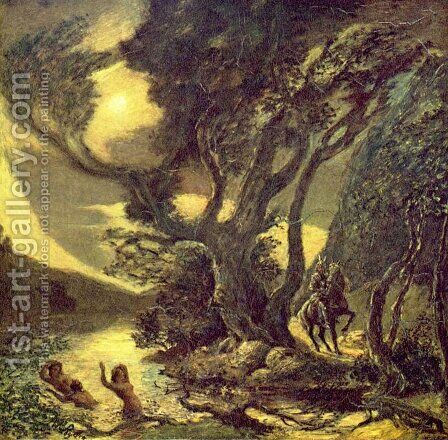 Siegfried and the Rhine Maidens by Albert Pinkham Ryder - Reproduction Oil Painting