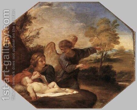 Hagar and Ismail in the Desert c. 1630 by Andrea Sacchi - Reproduction Oil Painting