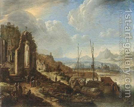 Rhenish River Landscape Capriccio 1676 by Herman Saftleven - Reproduction Oil Painting