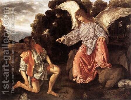 Tobias and the Angel c. 1530 by Giovanni Girolamo Savoldo - Reproduction Oil Painting