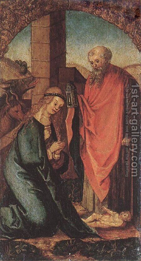 The Birth of Christ 1505-06 by Hans Leonhard Schaufelein - Reproduction Oil Painting