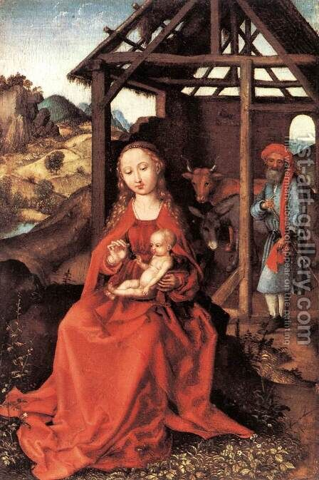 The Holy Family c. 1470 by Martin Schongauer - Reproduction Oil Painting