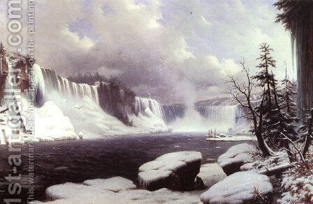 Winter at Niagara Falls 1856 by Hyppolyte Victor Valentin Sebron - Reproduction Oil Painting