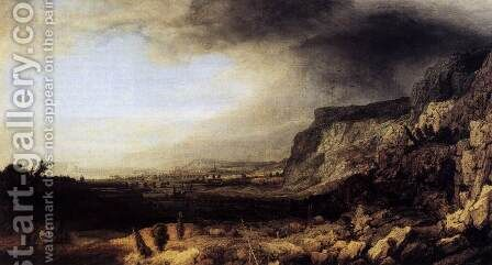 Mountainous Landscape c. 1633 by Hercules Seghers - Reproduction Oil Painting