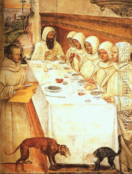 St. Benedict and his Monks Eating in the Refectory by Il Sodoma (Giovanni Antonio Bazzi) - Reproduction Oil Painting