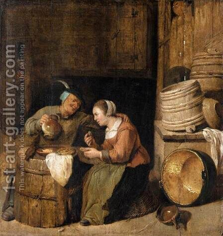 An Interior Scene by Hendrick Maertensz. Sorch (see Sorgh) - Reproduction Oil Painting