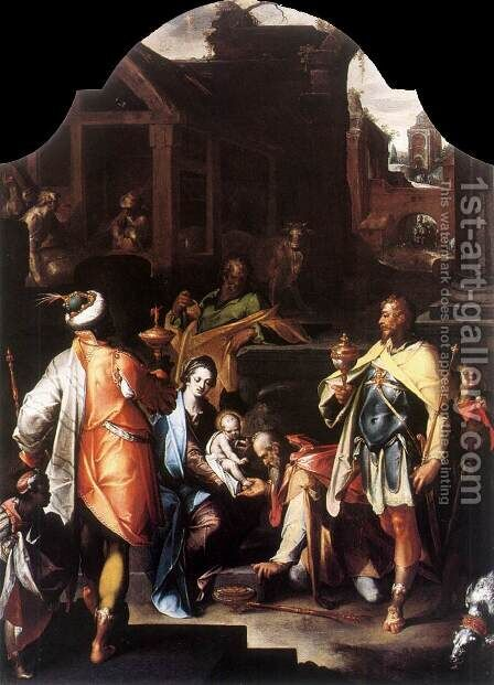 Adoration of the Kings c. 1595 by Bartholomaeus Spranger - Reproduction Oil Painting