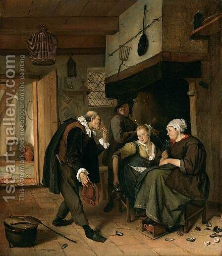 """Oude Vrijer - Jonge Meid"" c. 1665 by Jan Steen - Reproduction Oil Painting"