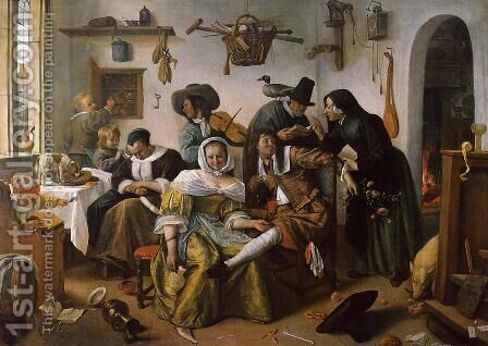 In Luxury, Look Out 1663 by Jan Steen - Reproduction Oil Painting