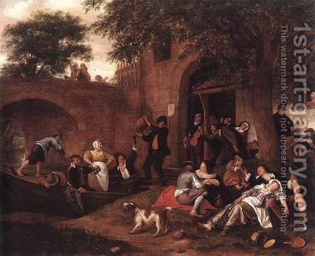 Leaving the Tavern by Jan Steen - Reproduction Oil Painting