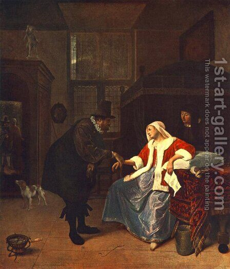 Love Sickness c. 1660 by Jan Steen - Reproduction Oil Painting