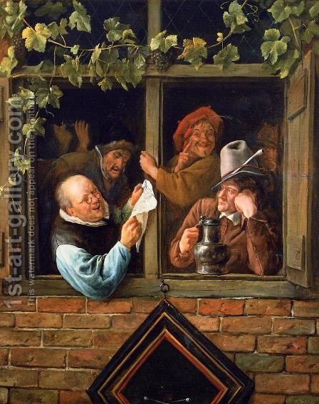 Rhetoricians at a Window 1662-66 by Jan Steen - Reproduction Oil Painting