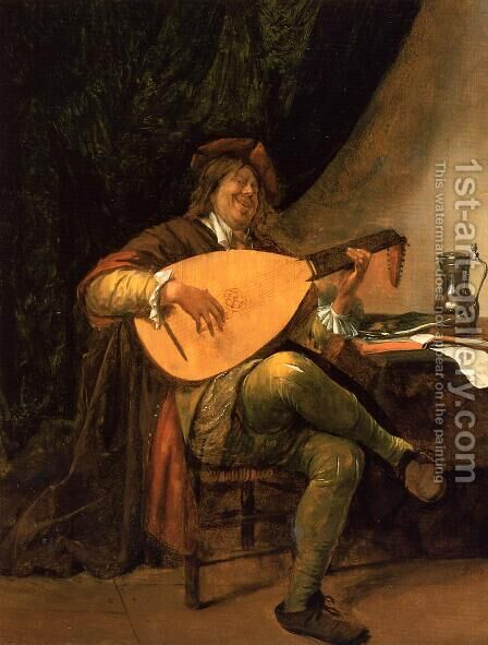 Self-Portrait as a Lutenist 1660-63 by Jan Steen - Reproduction Oil Painting