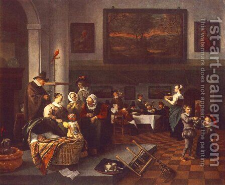The Christening by Jan Steen - Reproduction Oil Painting