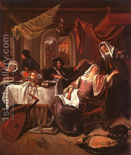 The Dissolute Household (2) by Jan Steen - Reproduction Oil Painting