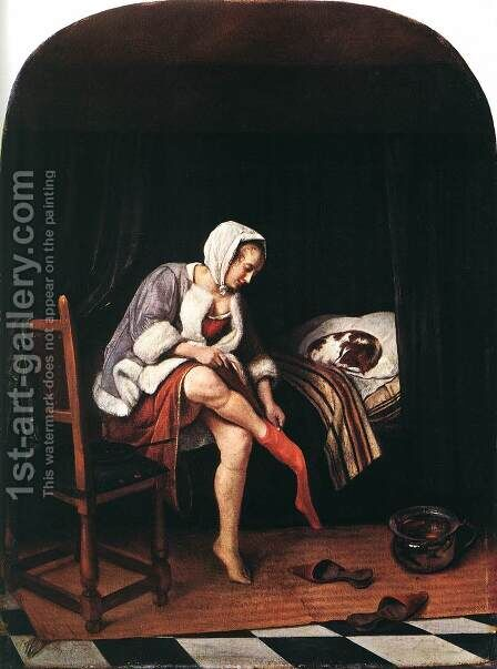The Morning Toilet c. 1665 by Jan Steen - Reproduction Oil Painting