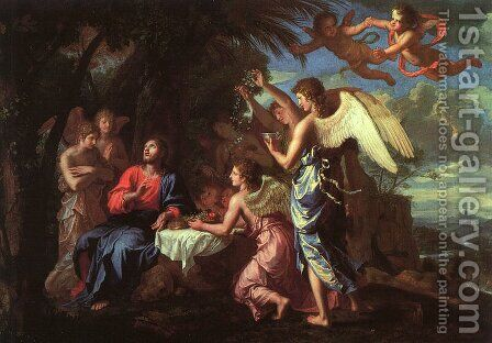 Christ Served by the Angels by Jacques Stella - Reproduction Oil Painting