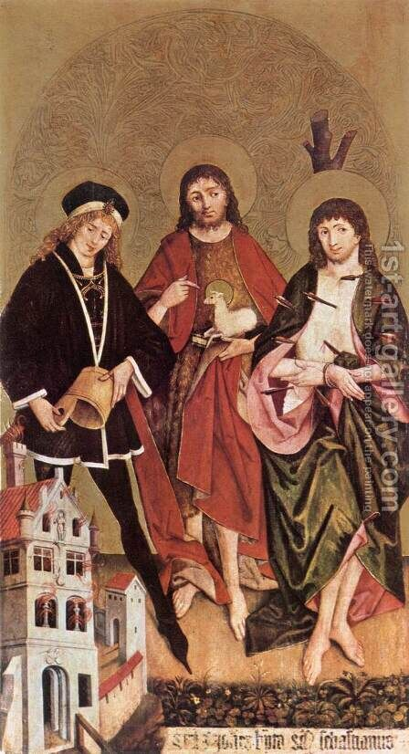 Sts Florian, John the Baptist and Sebastian c. 1480 by Hans II Strigel - Reproduction Oil Painting
