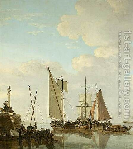 Two Boeiers and a Cat under Sail by Jacob van Strij - Reproduction Oil Painting