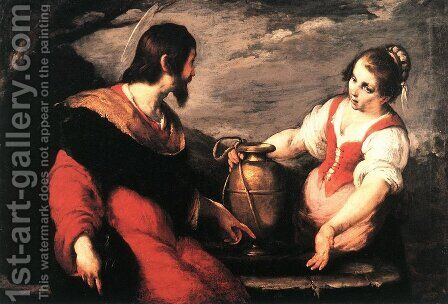 Christ and the Samaritan Woman by Bernardo Strozzi - Reproduction Oil Painting