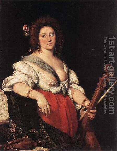 Gamba Player c. 1635 by Bernardo Strozzi - Reproduction Oil Painting