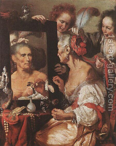 Old  Woman at the Mirror c. 1615 by Bernardo Strozzi - Reproduction Oil Painting