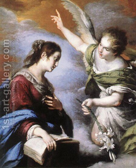 The Annunciation 1643-44 by Bernardo Strozzi - Reproduction Oil Painting