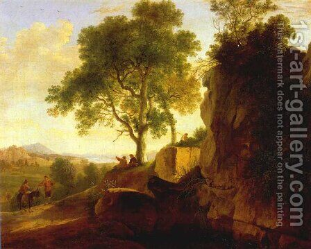 Landscape with Tall Rocks 1643 by Herman Van Swanevelt - Reproduction Oil Painting