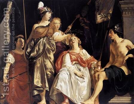 Minerva Crowns the Maid of Leiden 1650 by Abraham van den Tempel - Reproduction Oil Painting