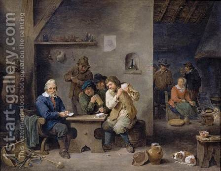Figures Gambling in a Tavern 1670 by David The Younger Teniers - Reproduction Oil Painting