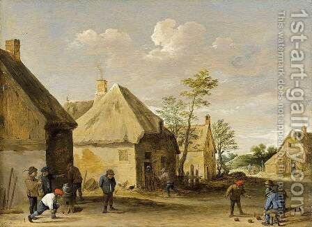 Peasants Bowling in a Village Street c. 1650 by David The Younger Teniers - Reproduction Oil Painting