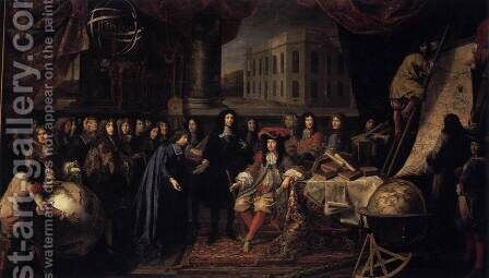 Colbert Presenting the Members of the Royal Academy of Sciences to Louis XIV in 1667 by Henri Testelin - Reproduction Oil Painting